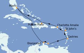 Itinéraire de la croisière Caraïbes de l'Est 12 jours à bord du Norwegian Encore