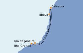 Itinéraire de la croisière Amérique du Sud 7 jours à bord du MSC Preziosa