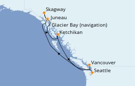 Itinéraire de la croisière Alaska 8 jours à bord du ms Westerdam