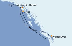Itinéraire de la croisière Alaska 6 jours à bord du Serenade of the Seas