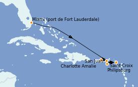 Itinéraire de la croisière Caraïbes de l'Est 7 jours à bord du Vision of the Seas