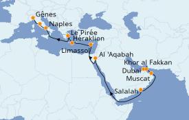 Itinéraire de la croisière Dubaï - Emirats 21 jours à bord du Costa Diadema