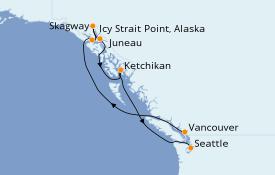 Itinéraire de la croisière Alaska 9 jours à bord du Celebrity Solstice