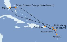 Itinéraire de la croisière Caraïbes de l'Est 11 jours à bord du Seven Seas Mariner