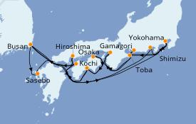 Itinéraire de la croisière Asie 19 jours à bord du Diamond Princess