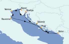 Itinéraire de la croisière Grèce & Adriatique 8 jours à bord du Seabourn Quest