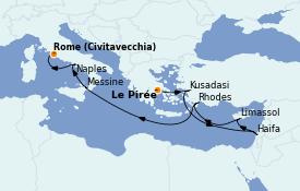 Itinéraire de la croisière Grèce & Adriatique 10 jours à bord du MSC Lirica