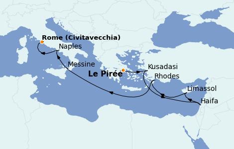 Itinéraire de la croisière Grèce & Adriatique 9 jours à bord du MSC Lirica