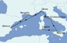 Itinerario de crucero Mediterráneo 8 días a bordo del MSC Seaside