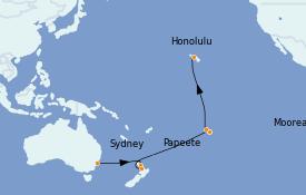 Itinéraire de la croisière Australie 2023 18 jours à bord du Ovation of the Seas
