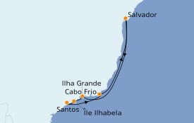 Itinéraire de la croisière Amérique du Sud 8 jours à bord du Costa Fascinosa