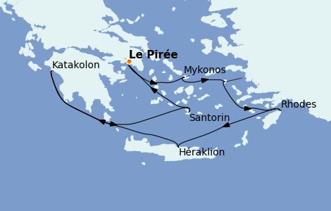 Itinéraire de la croisière Grèce & Adriatique 7 jours à bord du Norwegian Jade