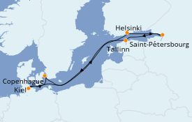 Itinéraire de la croisière Mer Baltique 8 jours à bord du MSC Meraviglia