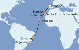 Itinéraire de la croisière Transatlantiques et Grands Voyages 2020 17 jours à bord du Azamara Quest