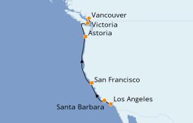 Itinéraire de la croisière Californie 8 jours à bord du Royal Princess