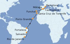 Itinéraire de la croisière Méditerranée 16 jours à bord du Norwegian Star