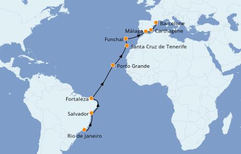 Itinéraire de la croisière Méditerranée 15 jours à bord du Norwegian Star