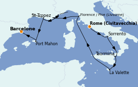 Itinéraire de la croisière Méditerranée 11 jours à bord du Nautica