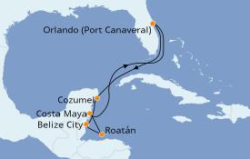 Itinéraire de la croisière Caraïbes de l'Ouest 8 jours à bord du Carnival Radiance