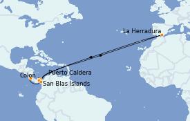 Itinéraire de la croisière Riviera Mexicaine 8 jours à bord du Le Champlain