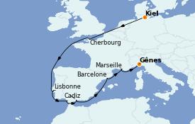 Itinéraire de la croisière Méditerranée 14 jours à bord du MSC Seaview
