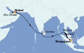 Itinéraire de la croisière Transatlantiques et Grands Voyages 2022 18 jours à bord du MSC Virtuosa