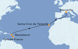Itinéraire de la croisière Transatlantiques et Grands Voyages 2021 12 jours à bord du Costa Fortuna