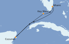 Itinéraire de la croisière Caraïbes de l'Ouest 5 jours à bord du Carnival Conquest