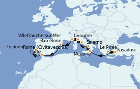 Itinerario de crucero Mediterráneo 13 días a bordo del Seven Seas Voyager