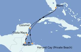 Itinéraire de la croisière Caraïbes de l'Ouest 8 jours à bord du Insignia