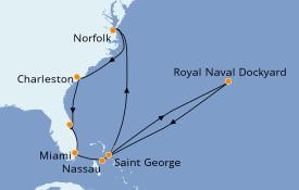 Itinéraire de la croisière Bahamas 12 jours à bord du Seven Seas Navigator