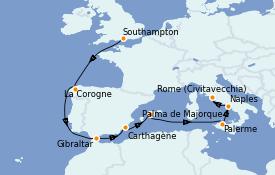 Itinéraire de la croisière Méditerranée 11 jours à bord du Island Princess