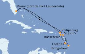 Itinéraire de la croisière Caraïbes de l'Est 11 jours à bord du Celebrity Reflection