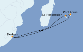 Itinéraire de la croisière Océan Indien 12 jours à bord du MSC Orchestra