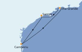 Itinéraire de la croisière Amérique du Sud 5 jours à bord du Costa Luminosa