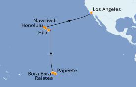Itinéraire de la croisière Hawaii 17 jours à bord du Seven Seas Navigator