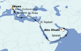 Itinéraire de la croisière Transatlantiques et Grands Voyages 2023 22 jours à bord du Costa Firenze
