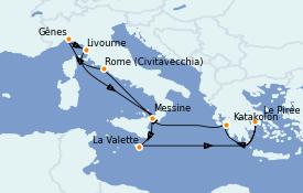 Itinéraire de la croisière Méditerranée 11 jours à bord du MSC Magnifica