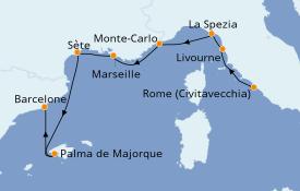 Itinéraire de la croisière Méditerranée 9 jours à bord du Seven Seas Mariner