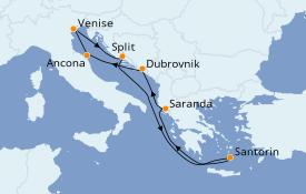 Itinéraire de la croisière Grèce & Adriatique 8 jours à bord du MSC Sinfonia