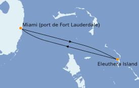 Itinéraire de la croisière Bahamas 5 jours à bord du Sky Princess