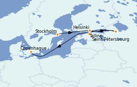 Itinéraire de la croisière Mer Baltique 8 jours à bord du Le Jacques Cartier
