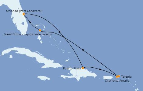 Itinéraire de la croisière Caraïbes de l'Est 7 jours à bord du Norwegian Escape