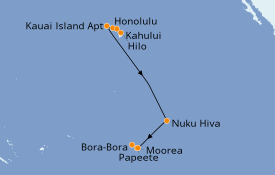 Itinéraire de la croisière Hawaii 14 jours à bord du Norwegian Jewel