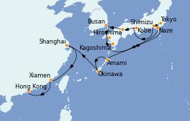 Itinéraire de la croisière Asie 17 jours à bord du MS Insignia