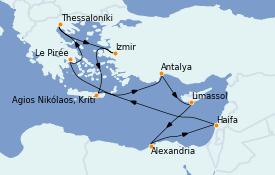 Itinéraire de la croisière Grèce & Adriatique 12 jours à bord du Celestyal Experience