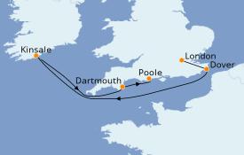 Itinéraire de la croisière Îles Britanniques 8 jours à bord du Le Dumont d'Urville
