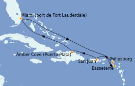 Itinéraire de la croisière Caraïbes de l'Est 9 jours à bord du Regal Princess