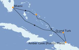 Itinéraire de la croisière Caraïbes de l'Est 7 jours à bord du Carnival Magic