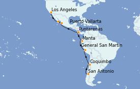 Itinéraire de la croisière Riviera Mexicaine 19 jours à bord du Sapphire Princess